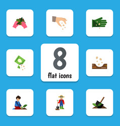 flat icon seed set of seed packet man and other vector image
