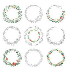 Floral circle doodle frames hand drawn linear vector