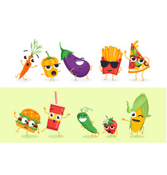 funny vegetables and fast food - set of vector image