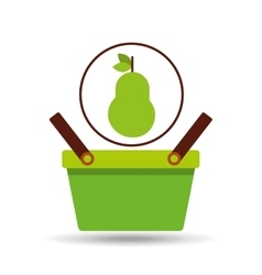 green basket fresh pear design icon vector image