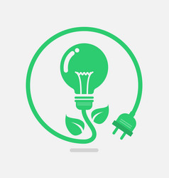 Green eco power lightbulb vector