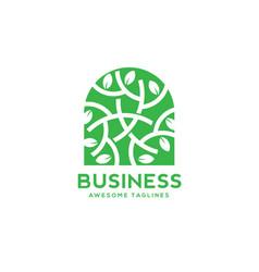green leaf decorative window logo vector image