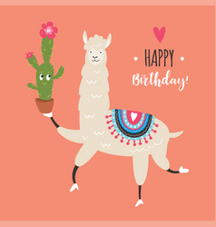 Greeting card cute llama vector