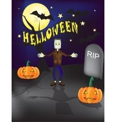 Halloween frankenstein grave yard background vector