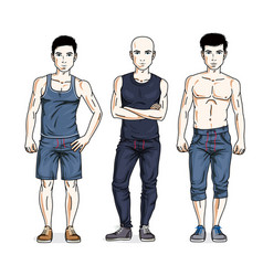handsome young men standing in stylish sportswear vector image