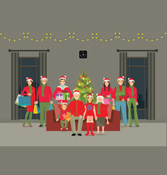 Happy big family celebrating christmas at home vector