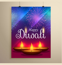 Happy diwali festival greeting design with diya vector