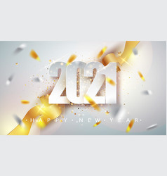 Happy new year 2021 greeting card with confetti vector
