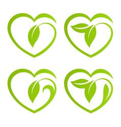 Heart eco logo vector