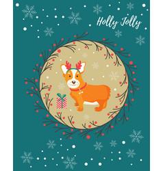 holiday greeting card with cute corgi dog vector image