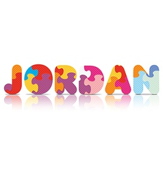 JORDAN written with alphabet puzzle vector