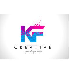 kf k f letter logo with shattered broken blue vector image