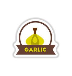 Label icon on design sticker collection garlic vector