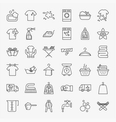 Laundry line icons set vector