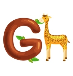 letter with animal giraffe for kids abc education vector image