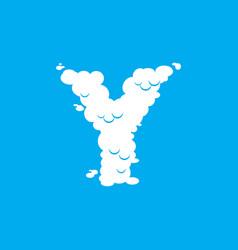 letter y cloud font symbol white alphabet sign on vector image