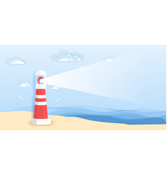 lighthouse on sea beach in paper art style vector image