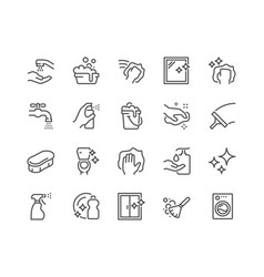 Line cleaning icons vector