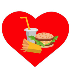 Lunch french fries burger and soda flat design vector