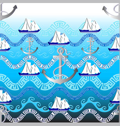 marine greek seamless pattern light blue vector image