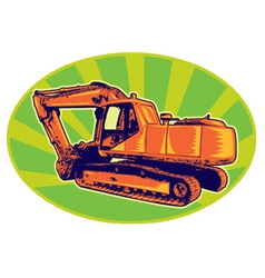 mechanical digger excavator trac vector image