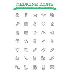 medicine and drugs related icons thin set vector image
