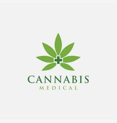 minimalist medical cannabis logo icon template vector image