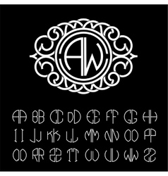 Monogram wide white stripes Template letters vector image