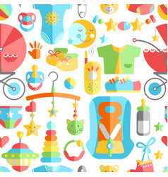 newborn infant cute flat seamless pattern baby vector image