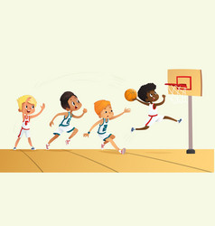 Of kids playing basketball vector
