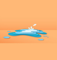 Paper cut fish jumping in water puddle concept vector
