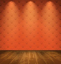 Red room with wooden floor vector