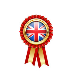 Red rosette with great britain flag in gold badge vector