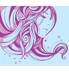 romantic girl with beautiful decorative hairstyle vector image
