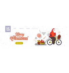 santa claus riding bicycle with gift boxes on vector image