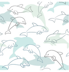 seamless pattern with dolphin on white design vector image