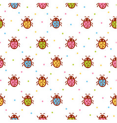 Seamless pattern with red ladybug vector