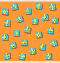 set blue gift boxes with golden ribbon and bow vector image