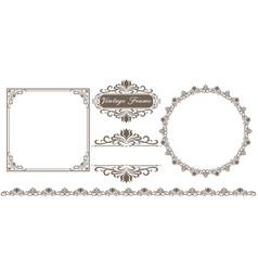set of decorative frame in vintage style vector image