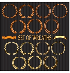 set wreaths with laurel leaves and spikelets vector image