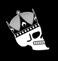 Skull in crown head skeleton king death of vector