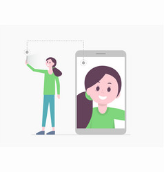 smiling cartoon girl taking selfie vector image