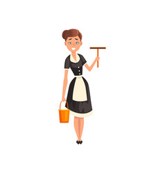 smiling maid holding a squeegee and a bucket vector image