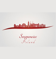 sosgnowiec skyline in red vector image