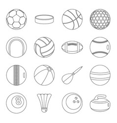 Sport balls icons set outline style vector