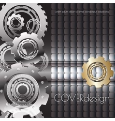 Square cover design with golden cogwheels vector