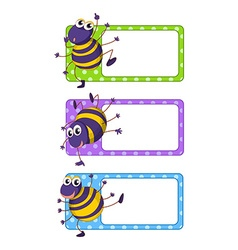Square tags with happy spiders vector