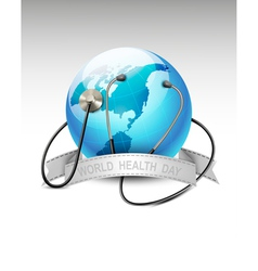 Stethoscope against a globe World health day vector