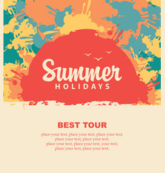 summer travel banner with color spots and splashes vector image
