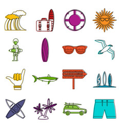 surfing icons doodle set vector image
